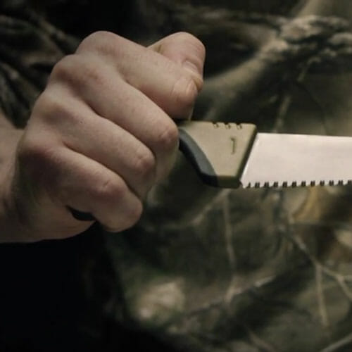 Gerber Myth fixed blade saw in a hand