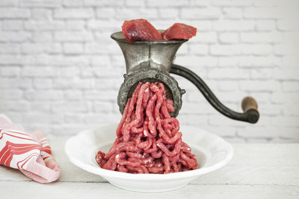 Fresh Minced Meat in a meat grinder