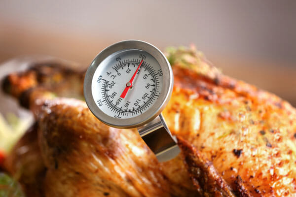 roasted turkey with meat thermometer